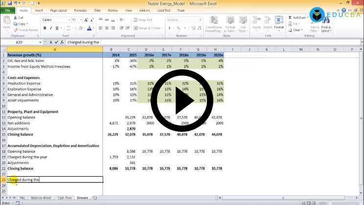Oil & Gas Sector Financial Modeling of Noble Energy