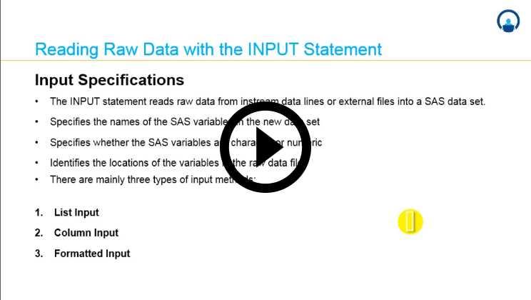 Analytics with SAS:02 - Working with Data