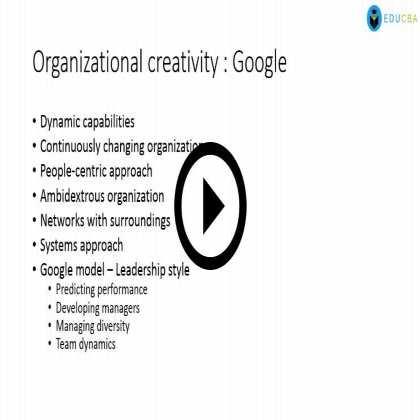 Managing Organisational Creativity