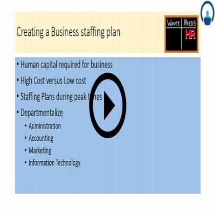 HR Plan for a Startup Firm  (Module #1) - Objectives