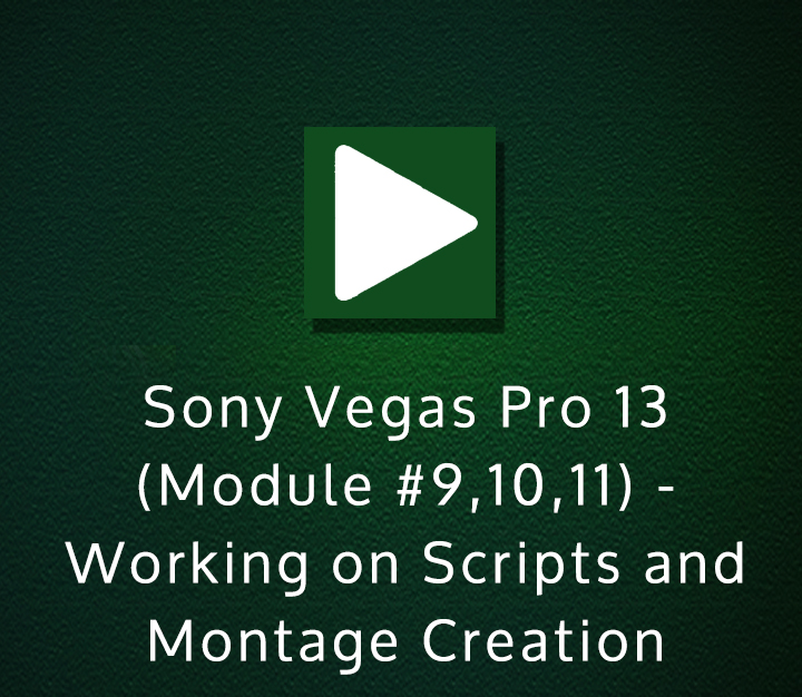 Sony Vegas Pro 13 (Module 9,10,11) - Working on Scripts and Montage Creation - Expert - 10 Sessions